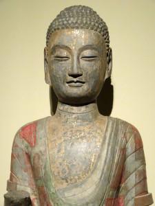 Stenen Boeddha met goudblad. Noordelijke Qi (550-577).