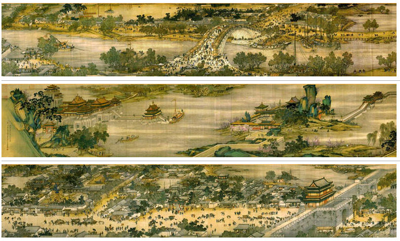 The famous painting Along the River During the Qingming Festival is believed by some to portray life in Kaifeng on Qingming Festival. Several versions exist – the above is an 18th-century recreation – of an original attributed to the 12th-century artist Zhang Zeduan.